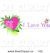 Vector Clip Art of a Pink Heart on Leaves with I Love You Text and a Bee by