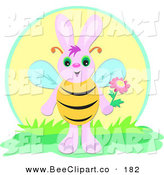 Vector Clip Art of a Pink Rabbit Bee Holding a Flower by