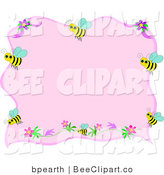Vector Clip Art of a Pink Stationery Background Bordered by Yellow Bumble Bees and Flowers by