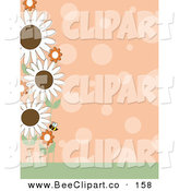 Vector Clip Art of a Pretty Orange Polka Dot Background with a Left Border of a Bee and Flowers by Maria Bell