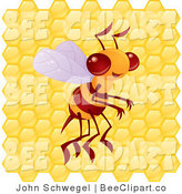 Vector Clip Art of a Proud Yellow Bee Buzzing in Front of a Honeycomb by John Schwegel