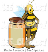 Vector Clip Art of a Proud Yellow Honey Bee Resting His Elbow on Top of a Full Honey Jar After a Long Day of Gathering by Paulo Resende