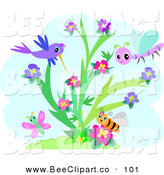 Vector Clip Art of a Purple Hummingbird, Bee, Butterfly and Dragonfly Around a Flowering Plant by