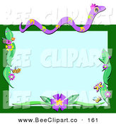 Vector Clip Art of a Purple Snake and Insect Boder with Flowers on Green by
