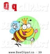 Vector Clip Art of a Queen Bee with Letters Q in Upper and Lower Case by Hit Toon