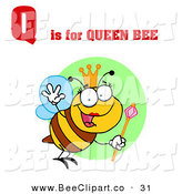 Vector Clip Art of a Queen Bee with Red Q Is for Queen Bee Text by Hit Toon