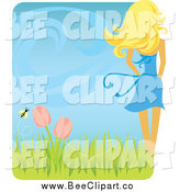 Vector Clip Art of a Rear View of a White Blond Woman with a Spring Breeze Tulips and Bee by Amanda Kate