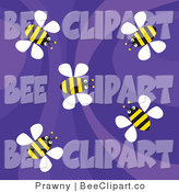 Vector Clip Art of a Retro Purple Background with Yellow Flying Bees by Prawny