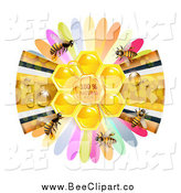 Vector Clip Art of a Ribbon and Petals with Bees by Merlinul