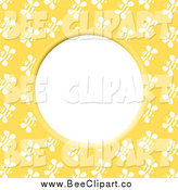 Vector Clip Art of a Round Bee Frame with White Text Space by Prawny