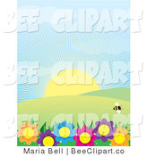 Vector Clip Art of a Single Bumble Bee Flying Above Colorful Flowers, with Hills and Sunshine on a Spring Day by Maria Bell