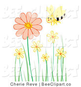 Vector Clip Art of a Single Happy Honey Bee Flying over Pastel Flowers by Cherie Reve