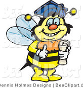 Vector Clip Art of a Smart Graduate Bee by Dennis Holmes Designs