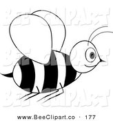 Vector Clip Art of a Smiling Black and White Wasp in Flight by Pams Clipart