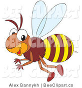 Vector Clip Art of a Smiling Brown and Yellow Bumble Bee Flying past by Alex Bannykh