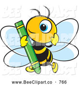 Vector Clip Art of a Smiling Cute Bee Holding a Green Crayon by Lal Perera