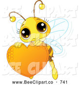 October 10th, 2013: Vector Clip Art of a Smiling Cute Bee Holding a Honey Valentine Heart by Pushkin