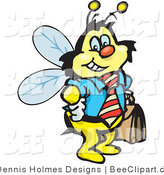 Vector Clip Art of a Smiling Honey Bee Character Businessman Carrying a Briefcase by Dennis Holmes Designs