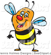 Vector Clip Art of a Smiling Orange, Black and Yellow Honey Bee by Dennis Holmes Designs