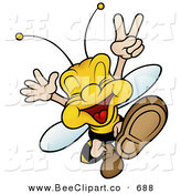 Vector Clip Art of a Smiling Peaceful Wasp Jumping and Gesturing by Dero