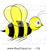 Vector Clip Art of a Smiling Yellow and Black Wasp in Flight by Pams Clipart