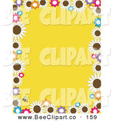 Vector Clip Art of a Solid Yellow Background Bordered in Daisy Flowers and a Bee by Maria Bell
