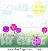 Vector Clip Art of a Spring Time Scene with a Bee on a Flower in a Grassy Field Under the Sun by Tdoes