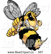 Vector Clip Art of a Stinging Mad Hornet Mascot by Chromaco