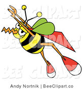 Vector Clip Art of a Super Bumblebee with a Cape, Flying Upwards by Andy Nortnik