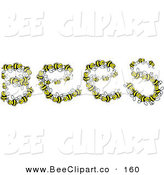 Vector Clip Art of a the Word Bees Formed by Yellow and Black Insects on a White Background by Prawny