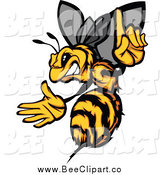 Vector Clip Art of a Tough Stinging Bee Holding a Finger up by Chromaco
