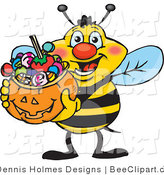 Vector Clip Art of a Trick or Treating Yellow and Black Honey Bee Holding a Pumpkin Basket Full of Halloween Candy by Dennis Holmes Designs