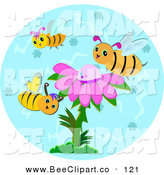 Vector Clip Art of a Trio of Bees Around a Purple Flower by