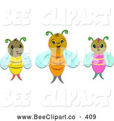 Vector Clip Art of a Trio of Bees by