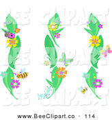 Vector Clip Art of a Trio of Green Plants with Flowers, Beetles, Bees and Butterflies by