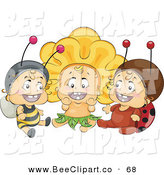 Vector Clip Art of a Trio of Happy Babies in Bee, Flower and Ladybug Costumes by BNP Design Studio