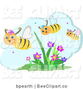 Vector Clip Art of a Trio of Happy Honey Bees Flying over Flowers on a Beautiful Day by