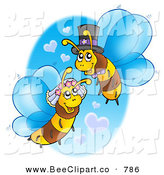Vector Clip Art of a Wedding Bee Couple with Heart Clouds, Wearing Formal Hats by Visekart