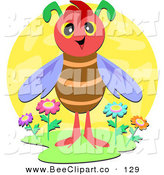 Vector Clip Art of a Winged Bug Standing in a Patch of Flowers on a Yellow Circle by