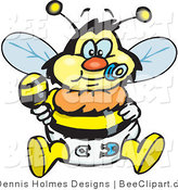 Vector Clip Art of a Yellow and Black Baby Bumble Bee Character in a Diaper, Sucking on a Pacifier and Holding a Rattle by Dennis Holmes Designs