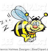 Vector Clip Art of a Yellow and Black Bumble Bee Character Buzzing Around While Flying by Dennis Holmes Designs
