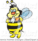 Vector Clip Art of a Yellow and Black Bumble Bee Character Touching His Lips to Shush Someone While Tip Toeing by Dennis Holmes Designs