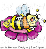 Vector Clip Art of a Yellow and Black Honey Bee Character Relaxing on a Purple Flower by Dennis Holmes Designs