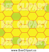 Vector Clip Art of a Yellow and Green Bee Hive Background by Cherie Reve