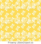 Vector Clip Art of a Yellow Background with Rows of White Bee Pattern by Prawny