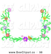 Vector Clip Art of a Yellow Bee and Colorful Flower Border Frame by