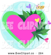 Vector Clip Art of a Yellow Bee Flying Around a Heart Garden by