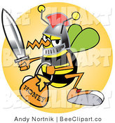 Vector Clip Art of a Yellow Bee in a Helmet, Holding a Sword and Carrying a Bucket of Honey by Andy Nortnik