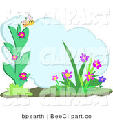 Vector Clip Art of a Yellow Honey Bee Admiring Flowers, with Text Space by Bpearth