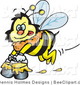 Vector Clip Art of a Yellow Honey Bee Character Carrying Pails of Honey by Dennis Holmes Designs